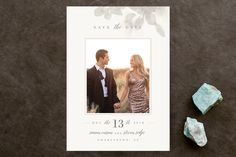 """""""Formal Frame"""" - Floral & Botanical, Modern Save The Date Cards in Mist by Lori Wemple."""