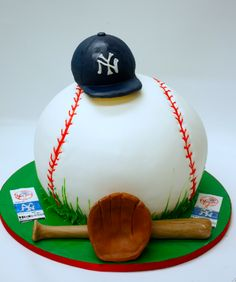 Baseball Cake for the Birthday Boy. Would be better with a Ranger cap. Have to do this for Zach Baseball Birthday Cakes, Baseball Party, Baseball Cakes, Baseball Food, 2nd Birthday, Birthday Ideas, Fancy Cakes, Cute Cakes, Beautiful Cakes