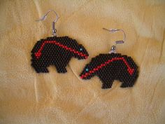 Black Bear Beaded Earrings with a Heart Line. by OneFeatherBeading