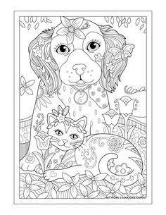 Dog Cat And Butterfly Pampered Pets Adult Coloring Book By Marjorie Sarnat