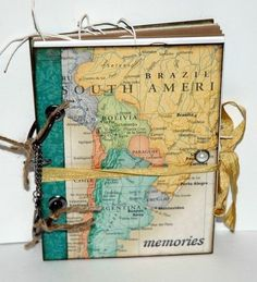 Adventure journal, notebook, colorful map stuck on cover, golden ribbon, pearl sicker want to make your own travel diary? inspirational ideas in 60 photos