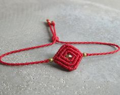 Red String Friendship Bracelet . Surfer Waterproof Bracelet . Small Macrame Jewelry . Design by .. raïz ..