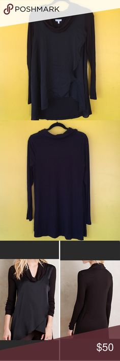 Anthropologie draped front cowl neck top Beautiful cowl neck black top, silky on the front and a cotton feel on the back.  Can be dressed up or down and is long enough for leggings.  Excellent condition Anthropologie Tops Tunics