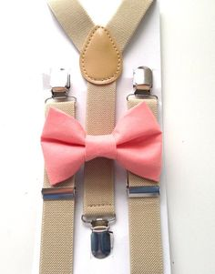 coral and tan bow tie set