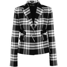 Versace Patent leather-trimmed plaid wool-twill blazer ($899) ❤ liked on Polyvore featuring outerwear, jackets, blazers, coats, black, versace blazer, plaid wool jacket, wool blazer, wool jacket and versace