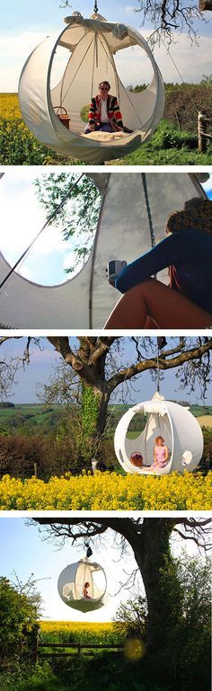The Hanging Tent Company has produced a suspended tent called the roomoon. Its s… The Hanging Tent Company has produced a suspended tent called the roomoon. Its sphere-shaped, portable tent that hangs among the trees. Suspended Tent, Hanging Tent, Hanging Chairs, Floating Canopy, Outdoor Fun, Outdoor Camping, Diy Camping, Camping Con Glamour, Backyard Hammock