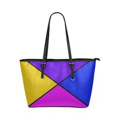diagonal purple accented Leather Tote Bag/Large (Model 1651)