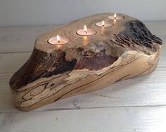 Tealight holder, candle holder, Scottish spalted beech wood, wooden, handmade, unique, natural, unusual candle holder, four, 4 (item 136)