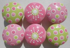 Set of 6 Hand Painted Decorative Pulls Cherry by sweetmixcreations