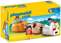 PLAYMOBIL 1.2.3 Animal Train. Load up the passengers for a ride on the 1.2.3 Animal Train. Bright and colorful design and large, rounded pieces are easy for small hands to hold. Playmobil is the largest toy manufacturer in Germany. Encourages children to explore and learn while having fun. Includes three figures and train carts in the shapes of a chicken, cat and dog.