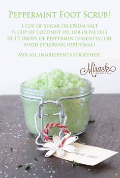Relax our feet by making your own Foot Scrub with Miracle Essential Oils Peppermint! http://www.miracleessentialoils.com/guide/index.php?affid=370408&c1=PIN&c2=C13-A2&c3=