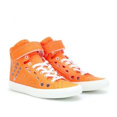 Pierre Hardy Gum Neon High-Top Sneakers ($537) ❤ liked on Polyvore