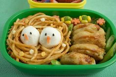 Noodle nest (mozz. cheese birds) and chicken nuggets sliced & filled with sauce?, Anna the Red