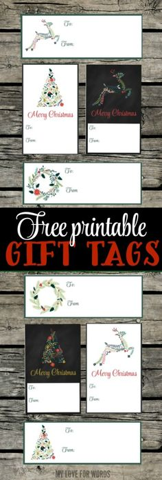 8 Free printable gift tags in 2 different sizes