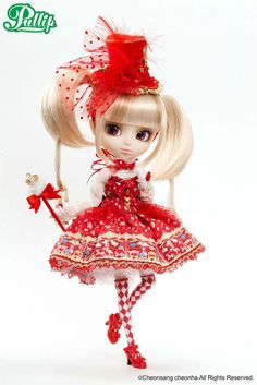 Pullip Prupate ANGELIC PRETTY $114.95  - The Anticipated 2nd series, following the popular 1st series from August 2009  - Perfectly portrays Angelic Pretty's Charm  - An honest recreation of Star Night Theater coordination in Pullip's size  - New kind of outfit centered around a vivid red dress  - Notice the unique pigtails with mixed hair  - Mystical glittery, purple Eyes❤