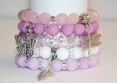 Agate Bracelet, Pink Bracelet, Stretch Beaded Bracelet, Set of Braselets, Charm Bracelets, Beads Charm Bracelets