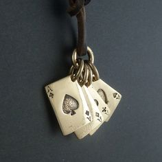 Playing Cards Necklace Bronze Aces Pendant on by LostApostle, $40.00