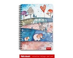 Notebook sketchbook A5 on a spring best quality paper Little Elephants