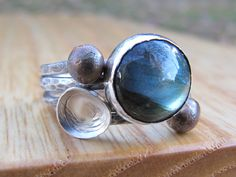 Labradorite Ring - Sterling Silver Stacking Star Ring. $85.00, via Etsy....while I'm at it, I'll definately take this one as well.  BEAUTIFUL!