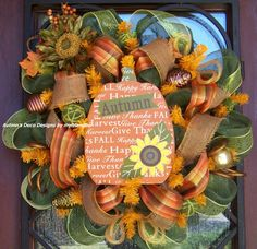 Autumn Harvest Pumpkin Happy Fall Deco Mesh Wreath by myfriendbo, $75.00