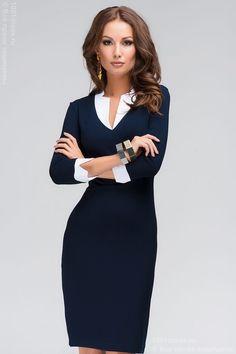 Платье темно-синее с белым воротником и манжетами W01871DB , синий в интернет магазине Платья для самых красивых 1001dress.Ru