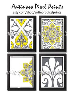 Items similar to Digital Print Wall Art Unframed Yellow Grey Ikat Vintage Modern - Set of Four Print Featured in Yellow Greys White on Etsy Bathroom Wall Art, Bathroom Ideas, Ikat Print, Blue Rooms, Living Room Colors, Living Room Inspiration, Brown And Grey, Wall Art Prints, Digital Prints