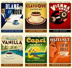 A perfect assignment for me. Images of coffee or coffee drinking evoking the vintage poster style. Coffee Art, My Coffee, Coffee Drinks, Coffee Shop, Coffee Time, Vintage Labels, Vintage Posters, Vintage Ads, Coffee Packaging