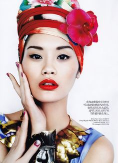 The red lips, the red turban wow love this asian beauty!