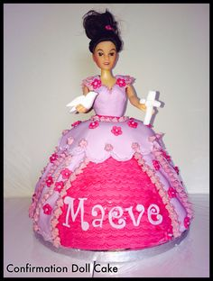 Confirmation doll/princess cake Confirmation, Dolls, Baking, Princess, Cake, Desserts, Food, Pie Cake, Tailgate Desserts
