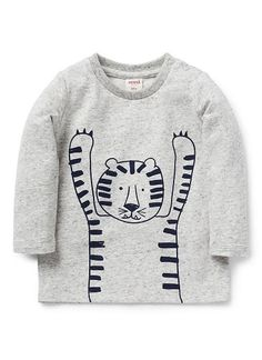 Cotton/Elastane long sleeve tee featuring front and back tiger outline print. Snap fastenings on shoulder for easy dressing.