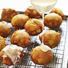 Apple Fritters with Calvados Glaze Simple savory puff pastry appetizers and sweet bites get the celebration started.