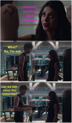 Can we talk about this tomorrow? ... (pics taken from the tv serie Shadowhunters) ... the mortal instruments, isabelle lightwood, alexander 'alec' lightwood, emeraude toubia, matthew daddario, shadowhunters