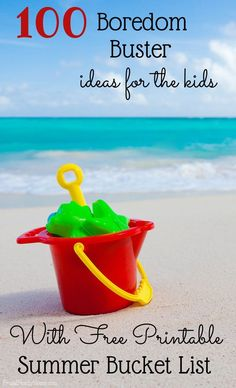 Got bored kids? Try a few {or many} of these 100 Summer fun ideas for kids. These summer fun activities and kids crafts will keep your kids busy for hours this summer. Plus theres a free summer bucket list printable too.