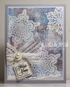 Dina Kowal: Mama Dini's Stamperia: Impression Obsession DT Challenge: Beautiful Stamped Backgrounds - 9/4/14 (Impression Obsessions: Crochet Snowflake 1, Vintage Tassel Snowflake) (Rolled drywall tape on Versamark pad.  All embossed with white emb. pwdr.) (Gelli plates available @ Blick)