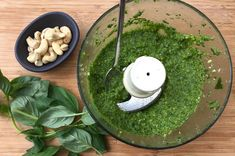 Dairy free pesto recipe suitable for babies from 6 months+. Great way to introduce nuts to your weaning baby. Good source of protein & healthy fats