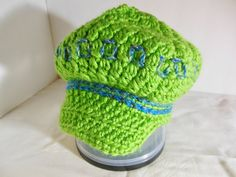OOAK Crocheted Newsboy Slouchy Hat Baby Lime by JustAMomFromNH