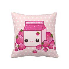 Kawaii strawberry milk carton cushion case - CC4 | ChibiBunny - Furnishings on ArtFire
