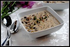 Cream of Mushroom Soup:: Easily made vegan by using coconut milk in place of dairy milk.