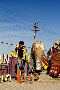 Vintage neon signs etc in retirement at the Neon Boneyard - Las Vegas