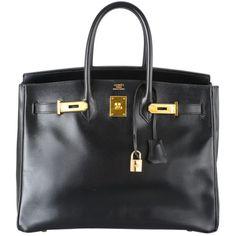d1344c7bed HERMES BIRKIN BAG 35cm BLACK BOX W GOLD HA at.