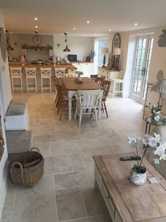 Lisa has used the Instone Bone tile from Edimax as flooring throughout her home. Available as single or modular sizes, travertine effect tile. Open Plan Kitchen Dining Living, Open Plan Kitchen Diner, Living Room Kitchen, Home Decor Kitchen, Cottage Living Rooms, Kitchen Ideas, Cottage Kitchens, Home Kitchens, Cottage Kitchen Interior