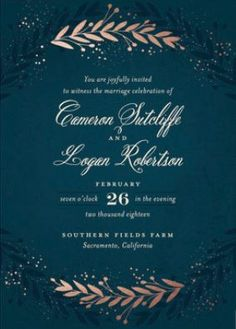 Rustic Greenery Wedding Invitations - Botanical Wedding Invitations - Foil-Pressed Wedding Invitations #rusticweddings #rusticweddinginvitations #foil-pressedweddinginvitations
