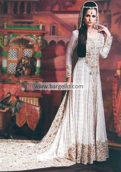 flared white floor length bridal anarkali with train | D4346 RDC London Asian Bridal Couture New York, RDC Desginer Bridal ...