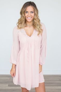 Shop our Smocked Tie Top Dress in Light Pink. Free shipping on all US orders!
