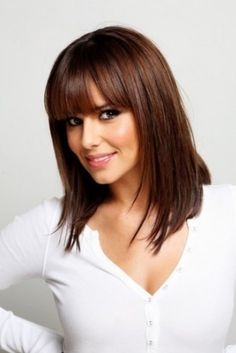 Shoulder Length Straight Hairstyle with Blunt Bangs
