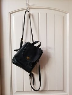 98f9b31121c Coach Vintage 9960 Black Leather Drawstring Flap Turnlock Backpack Purse EUC  | Clothing, Shoes &