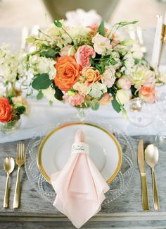 Romantic Place Setting in Blush and Gold | Peaches & Mint Photography | A Blooming Spring Wedding full of Lush Flowers in Peach and Fresh Green - http://heyweddinglady.com/blooming-spring-wedding-full-of-lush-flowers/