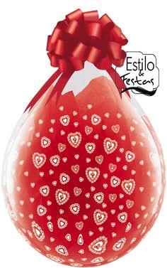Balão Embalagem Coração Lace Hearts-A-Round Qualatex 37655 Balão para Máquina presente Super Stuffer