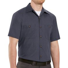 Men's Red Kap Classic-Fit Striped Button-Down Work Shirt, Size: