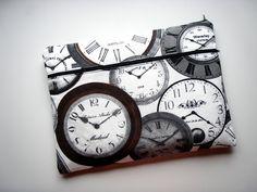 13 inch Laptop Sleeve Pocket Clocks Handmade Babimini Bag Case. €27.00, via Etsy.